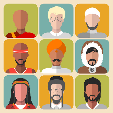 latin american boys: Vector set of different nationality man icons in trendy flat style Illustration