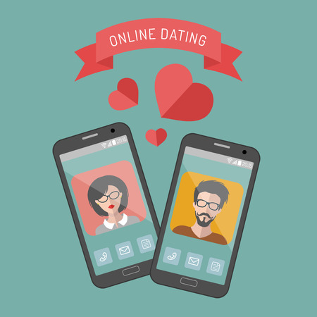 Vector illustration of online dating man and woman app icons in flat style
