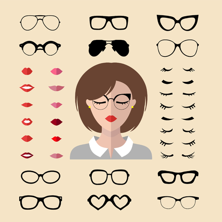 Vector set of dress up constructor with woman eyelashes, glasses, lips in trendy flat style. Female faces icon creator.