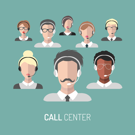 call centre girl: Vector illustration of customer service, call center operators icons with headsets.