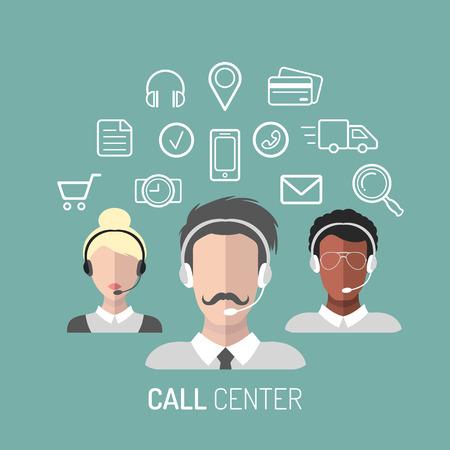 Ilustração vetorial do serviço ao cliente, ícones de operadores de call center com fones de ouvido.
