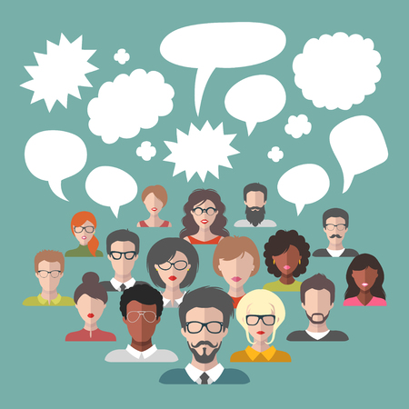 Vector illustration of brainstorming with people and speech bubbles. Business team management icons in flat style Ilustração
