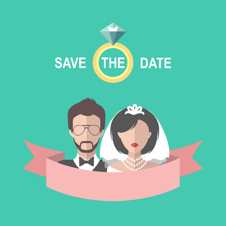Vintage wedding romantic card with ribbon, ring, bride and groom in flat style. Save the Date invitation in vector Illustration