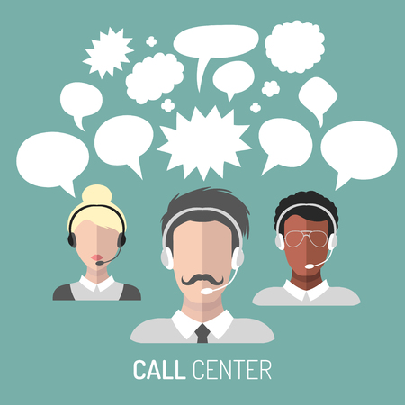 call centre girl: Vector illustration of customer service, call center operator icons with headsets with blank speech bubbles.