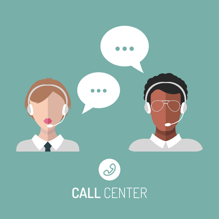 dispatcher: Vector illustration of customer service, call center operators icons with headsets.
