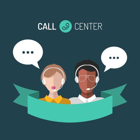 Vector la ilustración del servicio de atención al cliente, los iconos de los operadores del centro de atención telefónica con los auriculares.