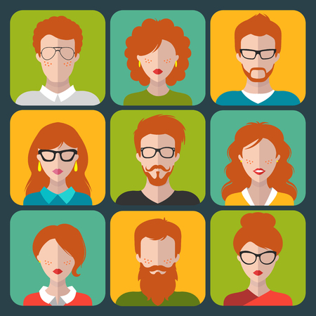 red hair: Vector set of different redhead people app icons in flat style. People heads and faces images collection. Illustration