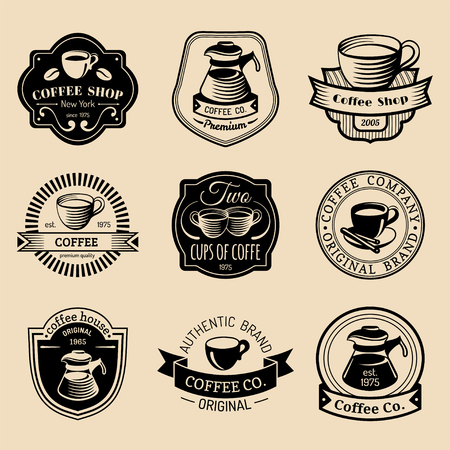 Vector set of vintage hipster coffee logos. Modern cafe shop, restaurant icons, emblems collection. Stock Vector - 74379576