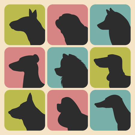 samoyed: Vector set of different dogs silhouettes icons in trendy flat style. Illustration