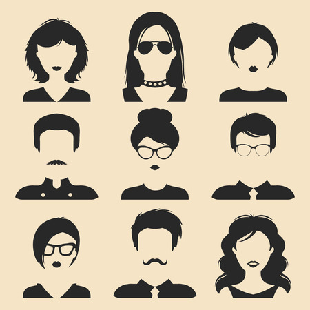 girl wearing glasses: Vector set of different male and female icons in trendy flat style. People faces or heads images. Illustration