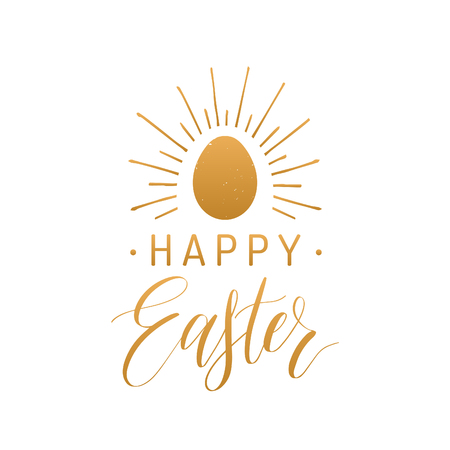Happy Easter hand lettering greeting card with egg. Religious holiday vector illustration on white background.