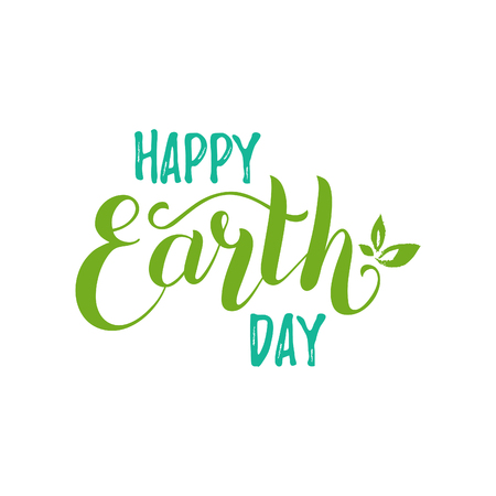 Happy Earth Day hand lettering background. Vector illustration with leaves for greeting card, poster, etc. Иллюстрация