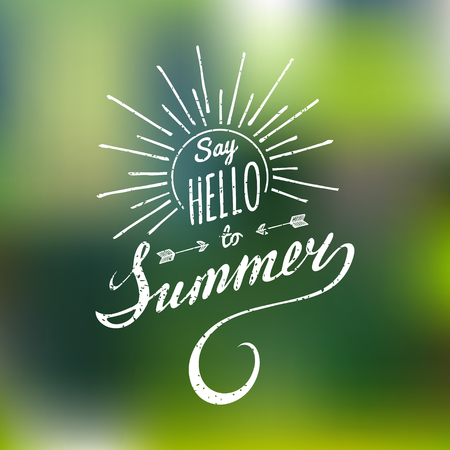 Hand lettering inspirational poster Say Hello To Summer. Vector fun quote illustration.