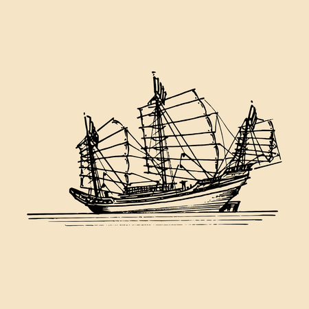 Vector sailing chinese junk ship in the sea in ink line style. Hand sketched sailing eastern boat Stock Vector - 74591132