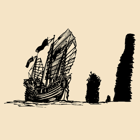 Vector sailing chinese junk ship in the sea in ink line style. Hand sketched sailing eastern boat