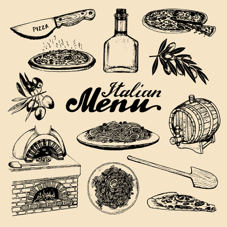 Hand sketched italian menu. Cuisine signs. Vector set of drawn mediterranean food elements with lettering. Traditional southern europe meal and drink in ink style.