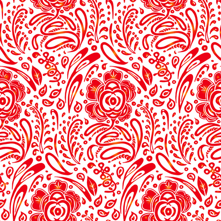 Traditional Russian vector seamless pattern in khokhloma style. Can be used for banner, card, poster, invitation, label, menu, page decoration or web design Illustration