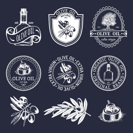 Vector set of vintage natural olive production logos. Retro hand sketched extra virgin oil signs, badges collection with farm elements.
