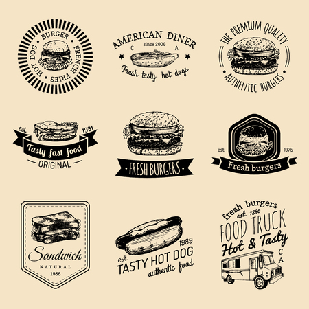 Vector vintage fast food logo set. Retro quick meal signs collection. Bistro, snack bar, street restaurant, diner icons.
