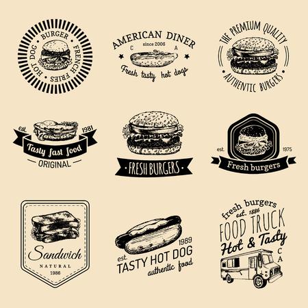 Vector vintage fast food logo set. Retro quick meal signs collection. Bistro, snack bar, street restaurant, diner icons.