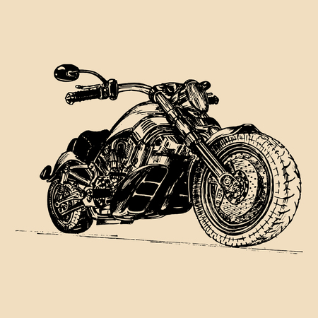 Vector illustration of hand drawn motorcycle. Detailed sketched classic chopper in ink style for biker club sign etc.