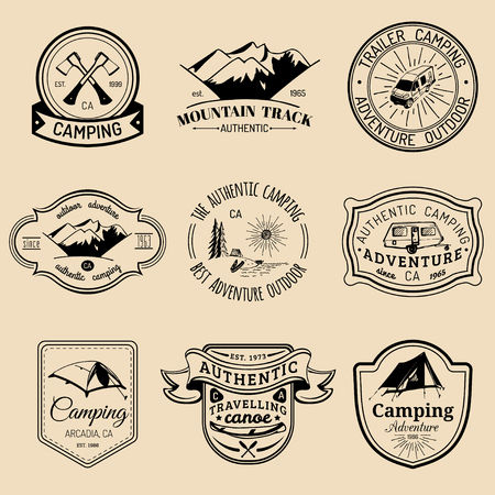 Vector set of vintage camping logos. Tourism emblems or badges. Retro signs collection of outdoor adventures.