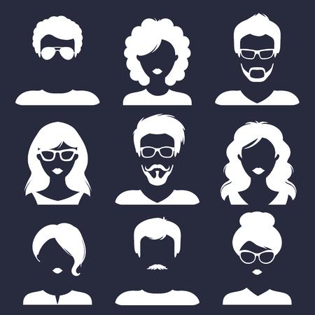トレンディなフラット スタイルの別の男性と女性のアイコンのベクトルを設定します。人の顔のイメージのコレクション。