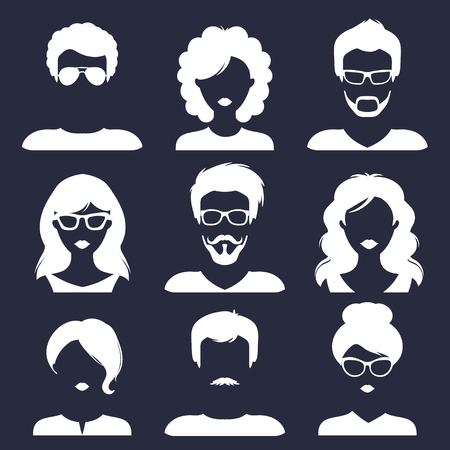 Vector set of different male and female icons in trendy flat style. People faces images collection.