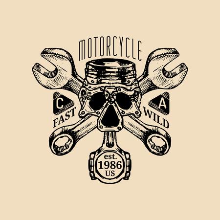 Biker piston-scull with wrenches logo illustration. MC sign. Custom garage label. Vector vintage motorcycle store emblem Illustration