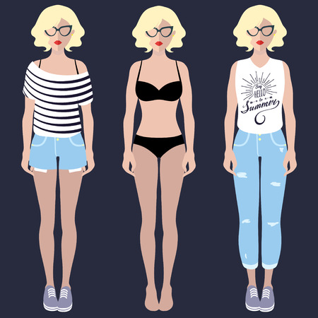 customizable: Vector set of dress up constructor with different woman wear in trendy flat style.