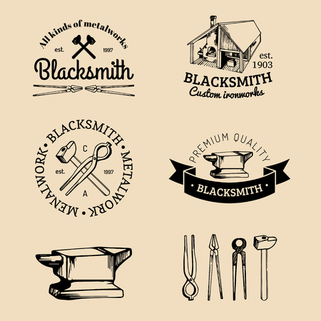 Vector set of hand sketched blacksmith logos. Vector farrier icons collection. Illustration
