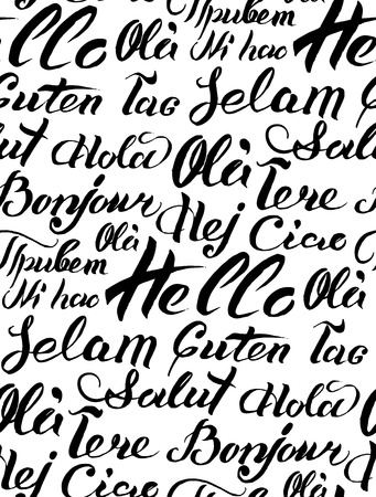 guten tag: Vector hand lettering text Hello written on different languages. Brushed calligraphy international welcome inscription.