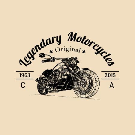 Vector vintage legendary motorcycles logo. Biker store icon, MC sign. Vintage illustration of hand drawn classic chopper Illustration