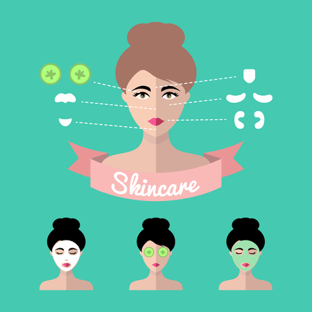 cleanse: Vector infographics set of women icons with different cosmetic treatment facial masks in flat style.