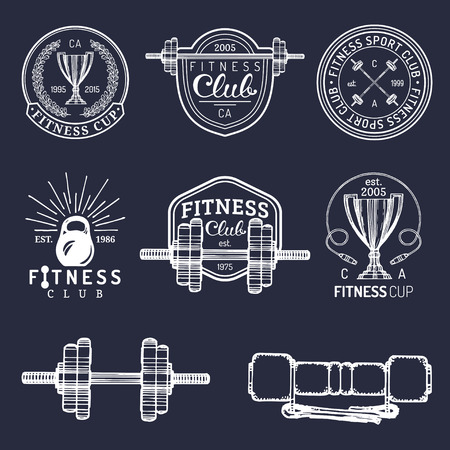 hand with dumbbell: Vector fitness logos set. Hand sketched athletic signs. Gym emblems illustration. Illustration