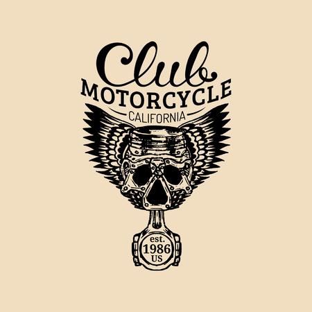 Biker piston-scull logo illustration. MC sign. Custom garage label. Vector vintage motorcycle store emblem.