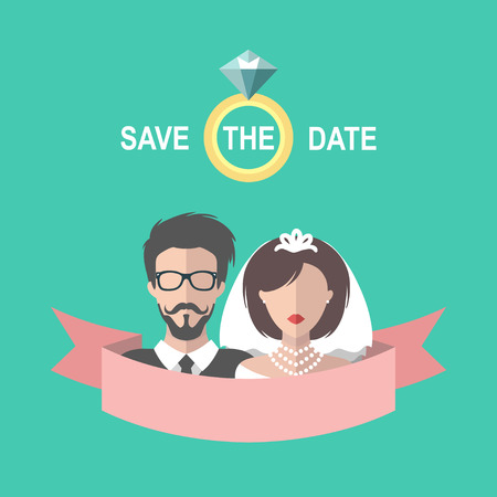 Vintage wedding romantic invitation card with ribbon,ring, bride and groom in flat style.Save the Date invite in vector