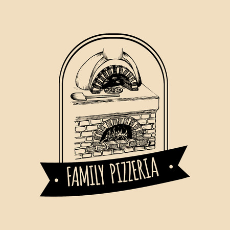 Vector vintage hipster logo de comida italiana. Signo de pizza moderna. Ilustración mediterránea drenada mano de la cocina.