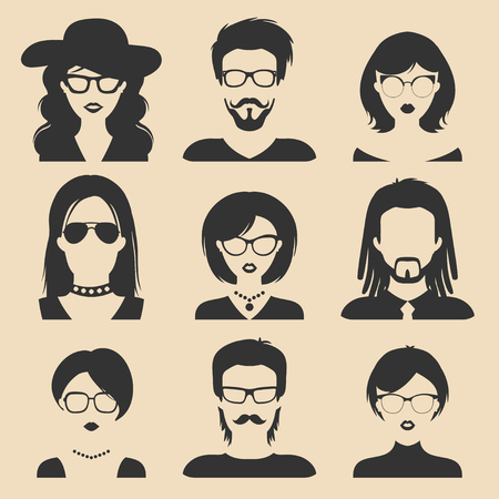 girl wearing glasses: Vector set of different male and female icons in trendy flat style. People faces and heads images collection.