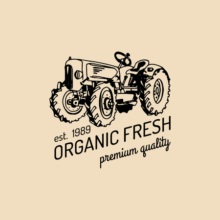 Vector retro farm fresh logotype.Organic premium quality products logo.Eco food sign.Vintage hand sketched tractor icon.