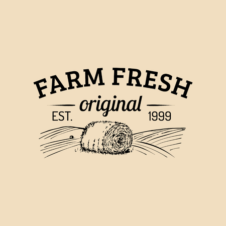 Vector farm fresh logotype. Organic premium quality products logo. Eco food sign. Vintage hand sketched haystack icon.