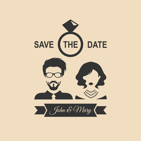 Vintage wedding romantic invitation card with ribbon,ring, bride and groom in flat style.Save the Date invite in vector.