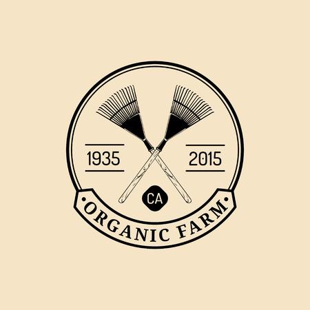 Vector retro farm fresh logotype. Organic quality products logo. Eco food sign. Vintage hand sketched pitchforks icon. Ilustração