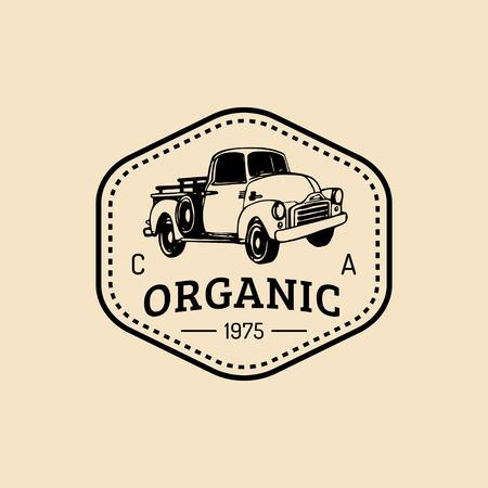 Vector retro farm fresh logotype. Organic quality products badge. Eco food sign. Vintage hand sketched pickup truck icon Ilustração