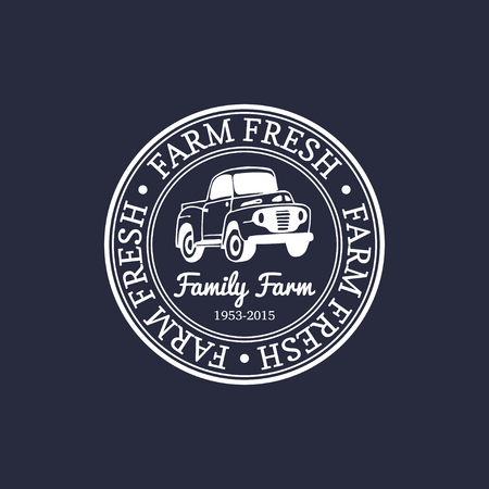 Vector retro farm fresh logotype. Organic quality products badge. Eco food sign. Vintage hand sketched pickup truck icon Ilustração