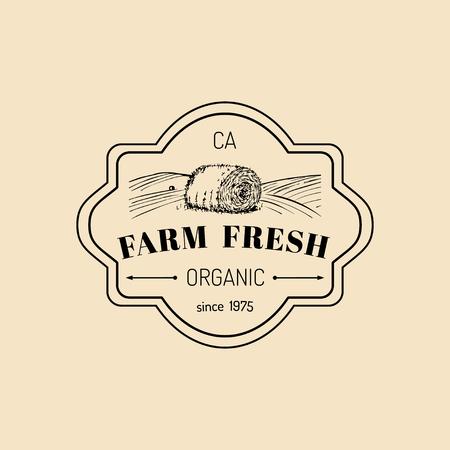 Vector retro farm fresh logotype. Organic premium quality products logo. Vintage hand sketched haystack icon. Vettoriali