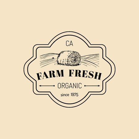 Vector retro farm fresh logotype. Organic premium quality products logo. Vintage hand sketched haystack icon. Stock Illustratie