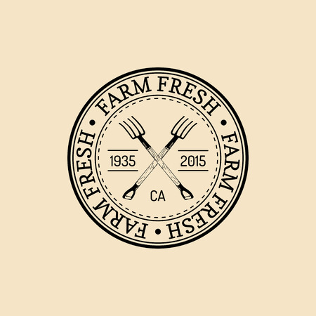 Vector retro family farm logotype. Organic premium quality products badge. Vintage hand sketched pitchforks icon.