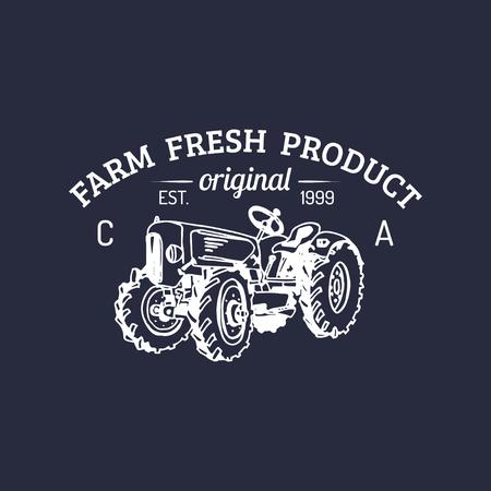 Vector retro family farm logotype. Organic premium quality products logo. Vintage hand sketched tractor icon. Ilustração