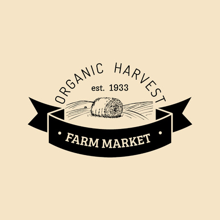 Vector retro farm fresh logotype. Organic premium quality products logo. Vintage hand sketched haystack icon. Illustration